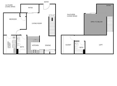 1 or 2 bed, 2 bath floor plan